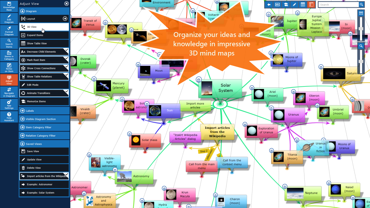 Create amazing 3D mind maps and flowcharts